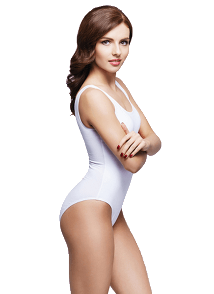 Vaser Liposuction sonuçlarını gösteren beyaz mayolu kadın